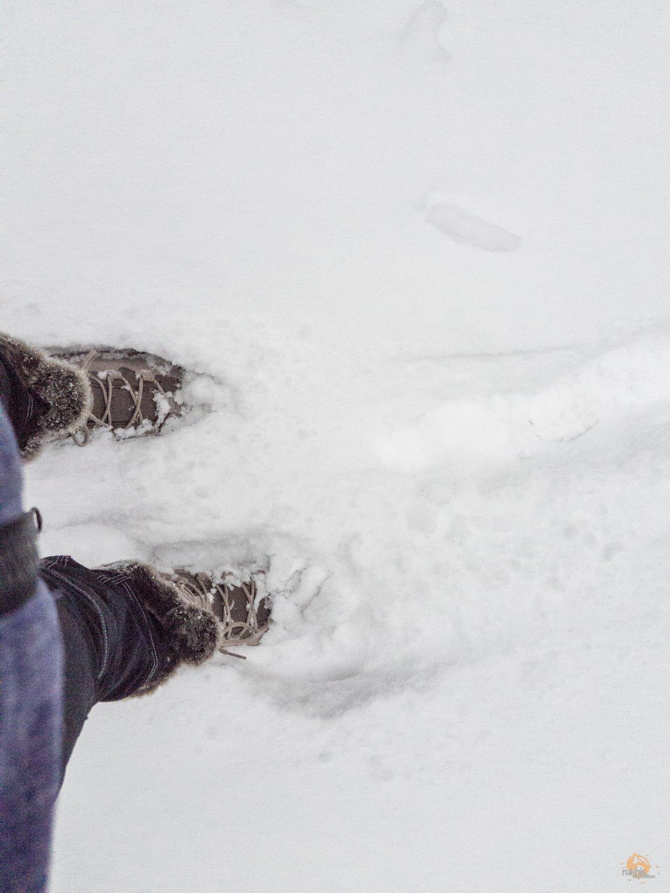 hohe Stiefel Jack Wolfskin GlacierBay Texapore tief im Schnee am Erbeskopf - Hunsrück-Hochwald